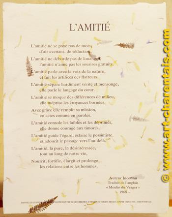 Poèmes Moulin Du Verger Poème Lamitié