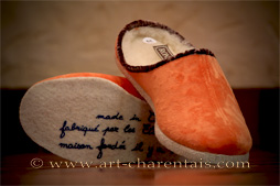 Mules fourrées velours orange